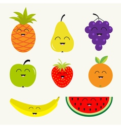 Fruit and berry set Cartoon character face Banana vector