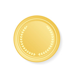 golden medal with laurel wreath on white vector image