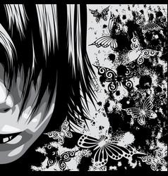 Grunge face sketch vector
