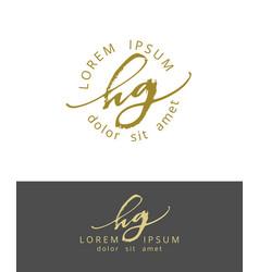 h g handdrawn brush monogram calligraphy logo vector image