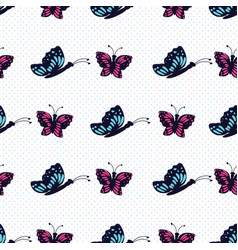 hand drawn blue and pink butterfly on a white vector image
