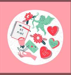 hand drawn love concept icon set isolated vector image