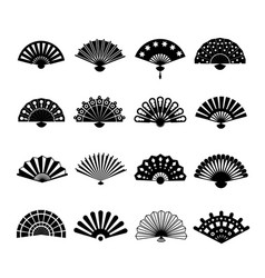 hand paper fan icons chinese or japanese vector image