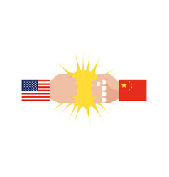 Hand with usa flag sleeve and hand with china vector