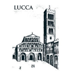 Historical old building facade in lucca gothic vector
