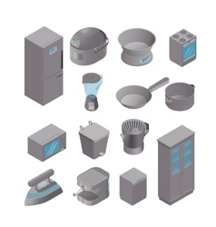 Isometric set of kitchen appliances vector image