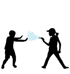Kids playing with water gun vector image