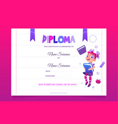 kids school diploma happy child with book vector image