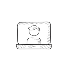 Laptop with man on screen sketch icon vector image