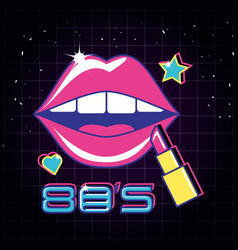 Lips pop art with lipstick style vector