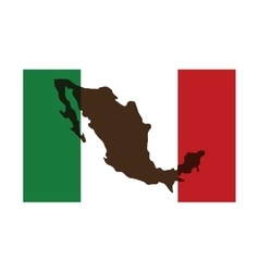 mexican flag with silhouette icon vector image