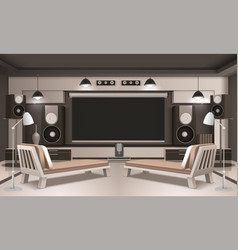 Modern home cinema interior 3d design vector
