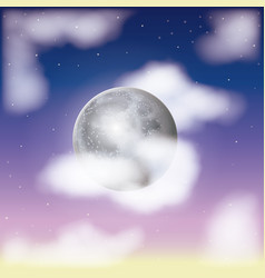 nightly sky scene background and cloudiness in vector image
