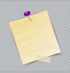 Note paper with pin on checkered background vector