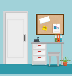 Office place scene icons vector