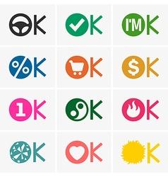 Okay icons vector image