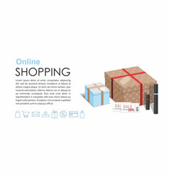 online shopping gift boxes and cosmetics 3d vector image