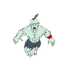 Orc Warrior Jumping Front Cartoon vector image