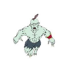 Orc warrior jumping front cartoon vector