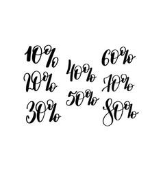 percent hand lettering inscription black ink vector image