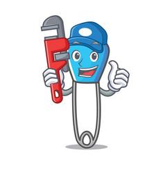 Plumber safety pin mascot cartoon vector