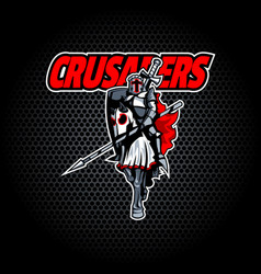 proud crusader knight on horseback vector image