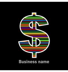 Rainbow dollar vector image