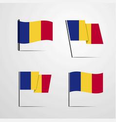 Romania waving flag set design vector