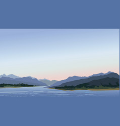 rural landscape with hills lake mountain skyline vector image