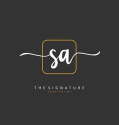 Sa initial letter handwriting and signature logo vector