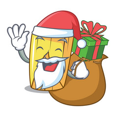 Santa with gift tamale with corn leaf in cartoon vector