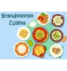 Scandinavian cuisine fish and meat dishes icon vector