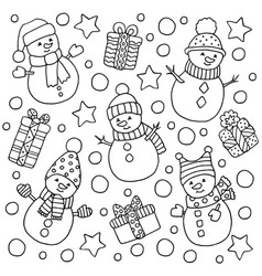 Seamless pattern with snowmen and christmas gifts vector