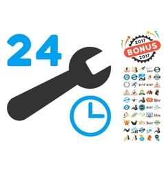 Service Hours Icon With 2017 Year Bonus Pictograms vector image