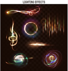 Set lighting isolated effect Magic bright vector image