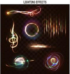 Set lighting isolated effect Magic bright vector