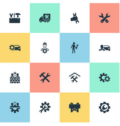 set of simple repairing icons vector image