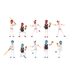 set professional baseball players teamwork vector image