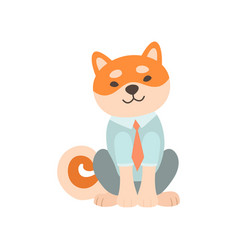 shiba inu dog businessman character cute funny vector image