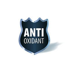 shield symbol with words antioxidant vector image