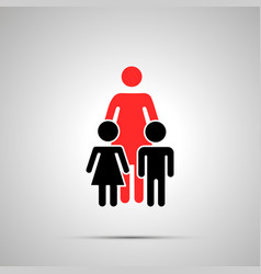 single mother with two children silhouettes vector image