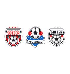 soccer football tournament logo templates set vector image