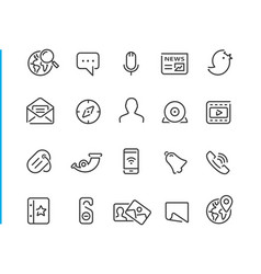 social network icon set vector image