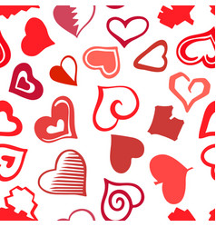 stylized sketch hearts seamless pattern vector image