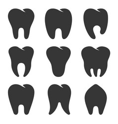 teeth type icons set on white background vector image