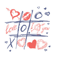 Tic tac toe valentines day love background vector