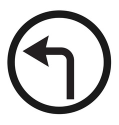 Turn left arrow sign line icon vector