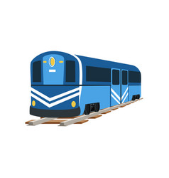 Underground blue train locomotive subway vector