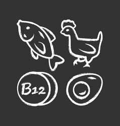 Vitamin b12 chalk icon fish poultry and egg vector