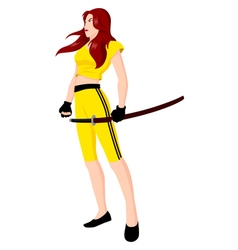 Warrior Girl with Sword vector